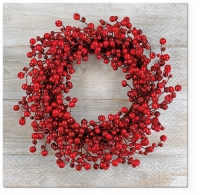 Servietten 33x33 cm - Red Wreath
