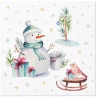 Servietten 33x33 cm - Lovely snowman