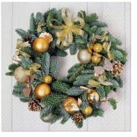 Servietten 33x33 cm - Golden Wreath