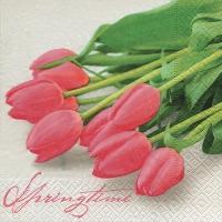Cocktail Servietten Pink tulips