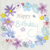 Servietten 33x33 cm - Birthday flowers