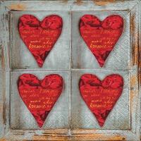 Servietten 33x33 cm - Vier Herzen