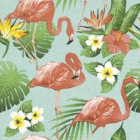 Servietten 33x33 cm - Flamingo-Leben