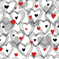 Servietten 33x33 cm - Shower of hearts red