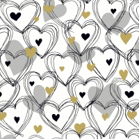 Servietten 33x33 cm - Shower of hearts gold