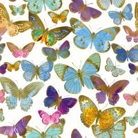 Servietten 33x33 cm - Goldene Schmetterlinge