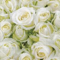 Servietten 33x33 cm - White roses