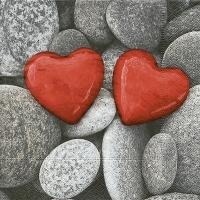 Servietten 33x33 cm - Love stones