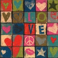 Servietten 33x33 cm - Love and peace