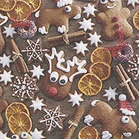 Servietten 24x24 cm - Gingerbread cookies