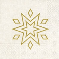 Servietten 25x25 cm - Starry white/gold