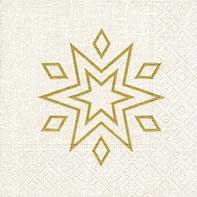 Servietten 24x24 cm - Starry white/gold