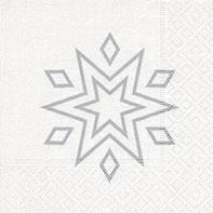 Servietten 25x25 cm - Sternenklar weiß/silber