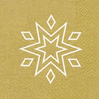 Servietten 25x25 cm - Starry gold/white