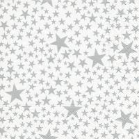 Servietten 25x25 cm - Sternchen weiß/silber