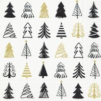 Servietten 25x25 cm - Grafische Bäume