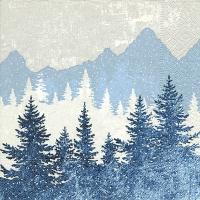 Servietten 25x25 cm - Waldsilhouette blau