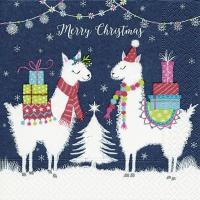 Servietten 25x25 cm - Lama Weihnachten
