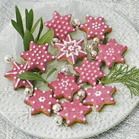 Servietten 25x25 cm - Rosa Cookies