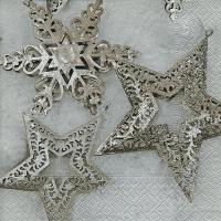 Servietten 33x33 cm - Metallische Sterne