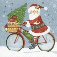 Servietten 33x33 cm - Der Weihnachtsmann auf dem Fahrrad