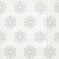 Servietten 33x33 cm - Sternenklar weiß/silber