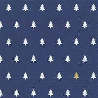 Servietten 33x33 cm - Trees darkblue gold