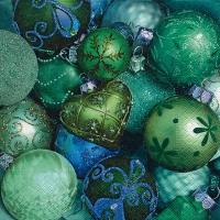 Servietten 33x33 cm - Shiny green baubles