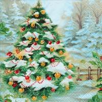 Servietten 33x33 cm - Verschneiter Weihnachtsbaum