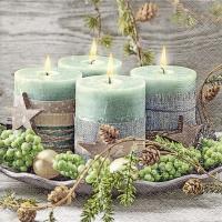 Servietten 33x33 cm - Vier grüne Kerzen