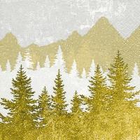 Servietten 33x33 cm - Forest silhouette gold