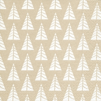 Servietten 33x33 cm - Pointed trees white