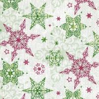 Servietten 33x33 cm - Zarte Sterne grün