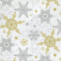 Servietten 33x33 cm - Zarte Sterne Silber