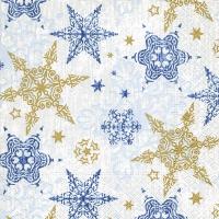 Servietten 33x33 cm - Zarte Sterne blau