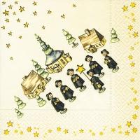 Servietten 33x33 cm - Christmas singers
