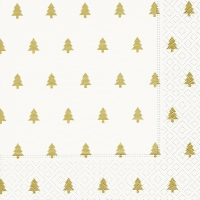 Servietten 33x33 cm - Trees white/gold