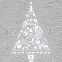 Servietten 33x33 cm - Moments My Xmas tree silver