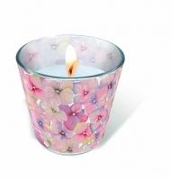 Glaskerze - Kleine Blüten
