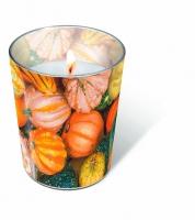 Glaskerze - Kürbis-Dekoration