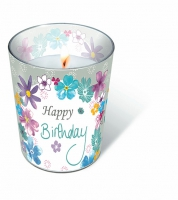 Glaskerze - Geburtstagsblumen