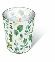 Glaskerze - Frische Blätter