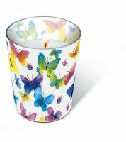 Glaskerze - Fliegende Farben