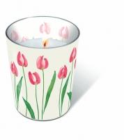 Glaskerze - Aquarell Tulpe