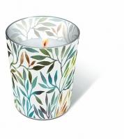 Glaskerze - Weidenblätter