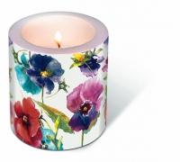 Dekorkerze - Watercolour pansies