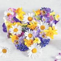 Servietten 25x25 cm - Flower heart
