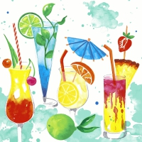 Servietten 24x24 cm - Colourful drinks