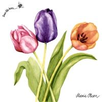Servietten 33x33 cm - Colorful tulips