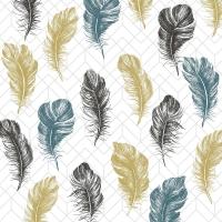 Servietten 33x33 cm - Coloured feathers